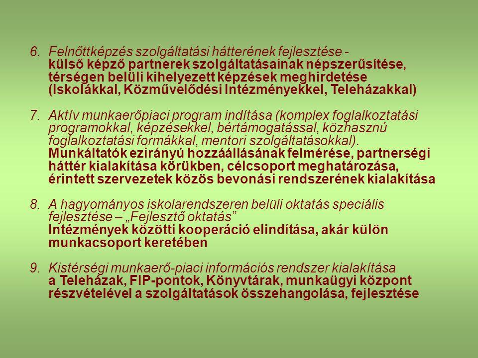 6.Felnőttképzés szolgáltatási hátterének fejlesztése - külső képző partnerek szolgáltatásainak népszerűsítése, térségen belüli kihelyezett képzések meghirdetése (Iskolákkal, Közművelődési Intézményekkel, Teleházakkal) 7.Aktív munkaerőpiaci program indítása (komplex foglalkoztatási programokkal, képzésekkel, bértámogatással, közhasznú foglalkoztatási formákkal, mentori szolgáltatásokkal).