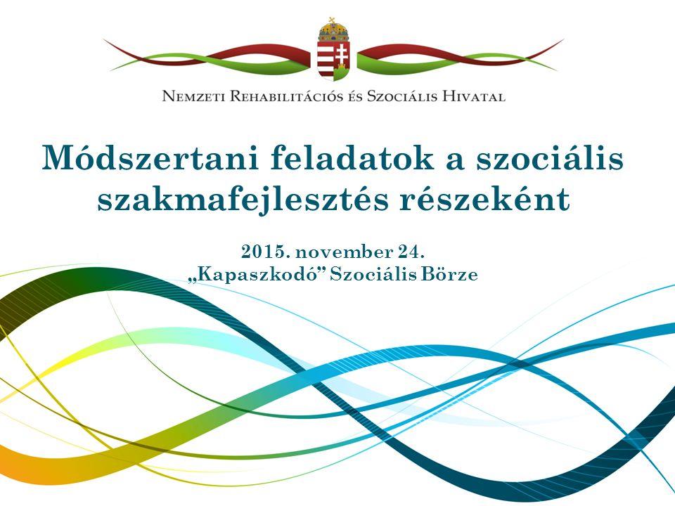 """Módszertani feladatok a szociális szakmafejlesztés részeként 2015. november 24. """"Kapaszkodó"""" Szociális Börze"""