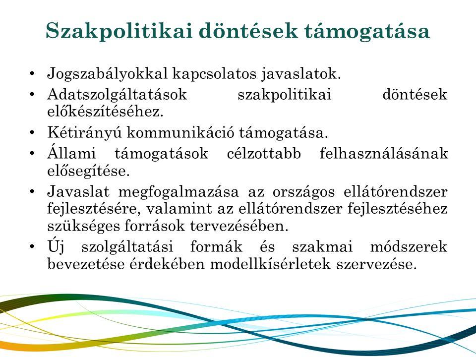 Szakpolitikai döntések támogatása Jogszabályokkal kapcsolatos javaslatok. Adatszolgáltatások szakpolitikai döntések előkészítéséhez. Kétirányú kommuni