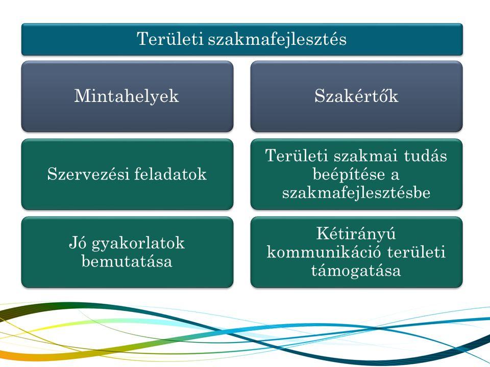 Területi szakmafejlesztés Mintahelyek Szervezési feladatok Jó gyakorlatok bemutatása Szakértők Területi szakmai tudás beépítése a szakmafejlesztésbe K