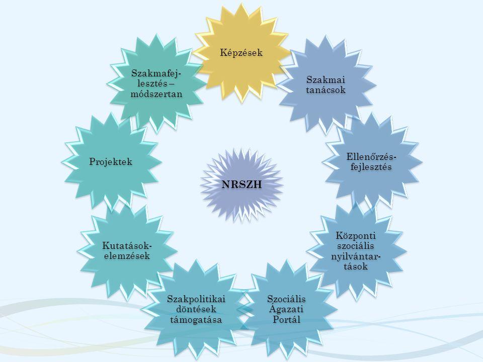 Módszertani-szakmafejlesztési feladatok alapelvei Kidolgozásra került egy átfogó Szakmafejlesztés szakmai koncepció, mely fő elemei – Módszertani feladatellátás szétválasztása a hatósági- szakértői feladatkörre és a szakmafejlesztő / szakmatámogató tevékenységkörre – Területi alapú szakmatámogató hálózat létrehozása, működtetése – Intenzív, kétoldalú kommunikáció a szakmával – Összehangolt együttműködés a szociális területen működő szereplők között – Szinergikus együttműködés a képzés – ellenőrzés – szabályozás területeken – Hivatalon belüli feladatok integrált működtetése.