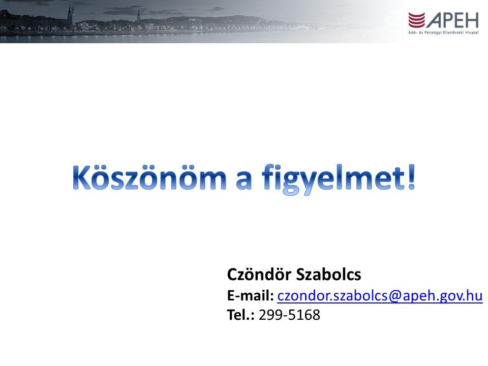 Czöndör Szabolcs E-mail: czondor.szabolcs@apeh.gov.huczondor.szabolcs@apeh.gov.hu Tel.: 299-5168