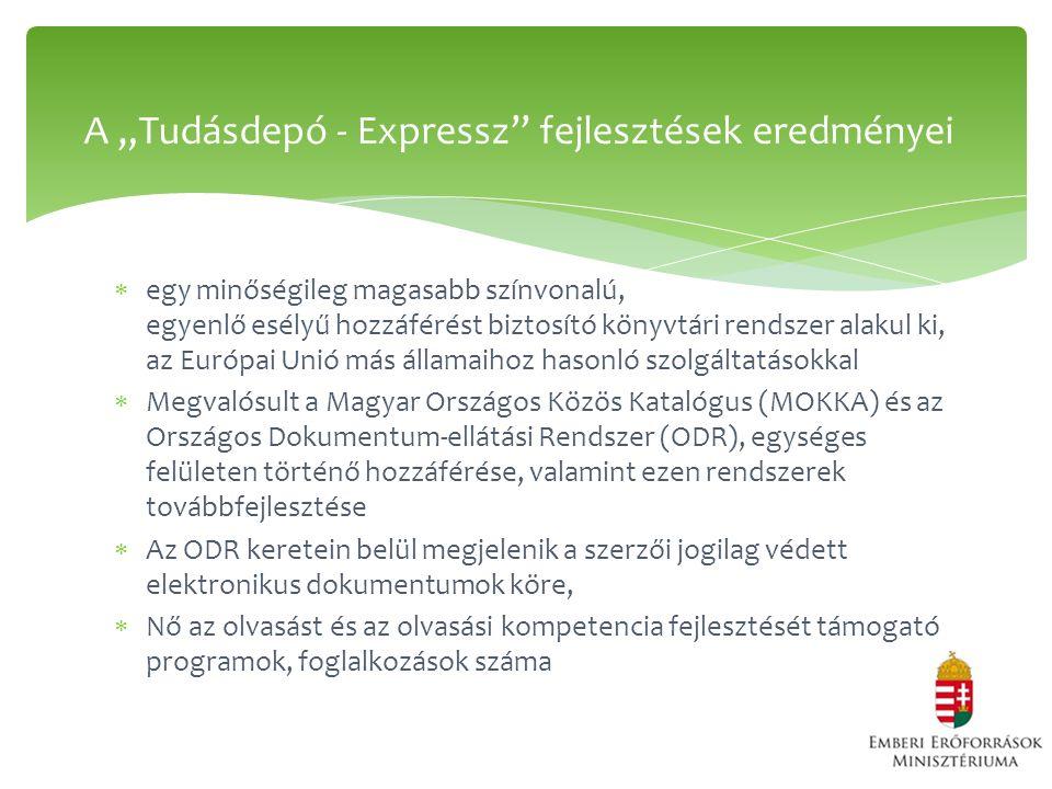 """ egy minőségileg magasabb színvonalú, egyenlő esélyű hozzáférést biztosító könyvtári rendszer alakul ki, az Európai Unió más államaihoz hasonló szolgáltatásokkal  Megvalósult a Magyar Országos Közös Katalógus (MOKKA) és az Országos Dokumentum-ellátási Rendszer (ODR), egységes felületen történő hozzáférése, valamint ezen rendszerek továbbfejlesztése  Az ODR keretein belül megjelenik a szerzői jogilag védett elektronikus dokumentumok köre,  Nő az olvasást és az olvasási kompetencia fejlesztését támogató programok, foglalkozások száma A """"Tudásdepó - Expressz fejlesztések eredményei"""