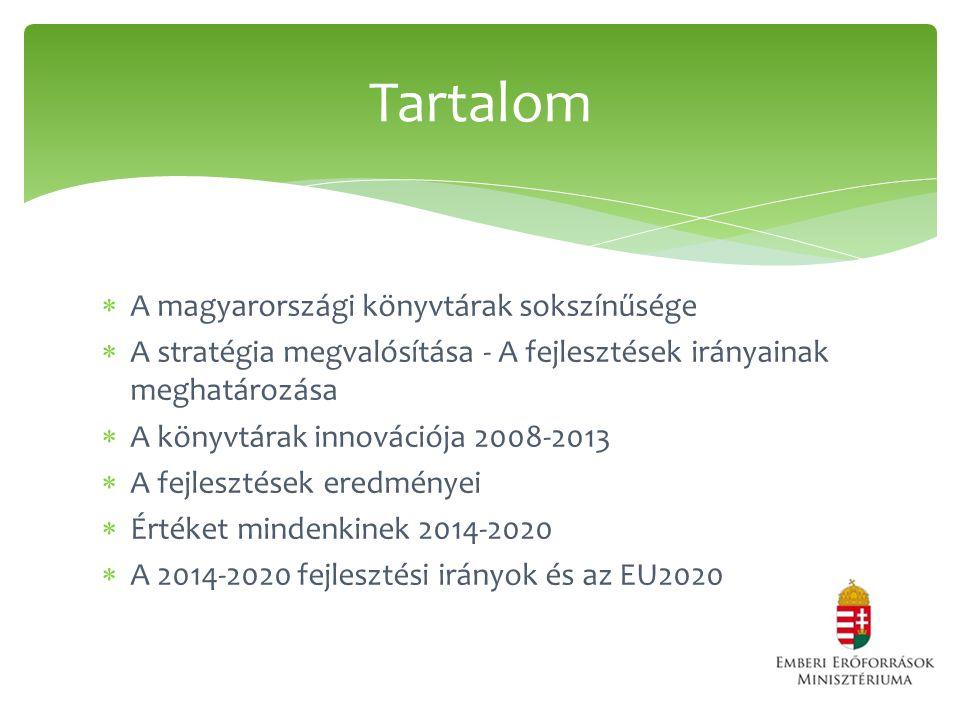  A magyarországi könyvtárak sokszínűsége  A stratégia megvalósítása - A fejlesztések irányainak meghatározása  A könyvtárak innovációja 2008-2013  A fejlesztések eredményei  Értéket mindenkinek 2014-2020  A 2014-2020 fejlesztési irányok és az EU2020 Tartalom