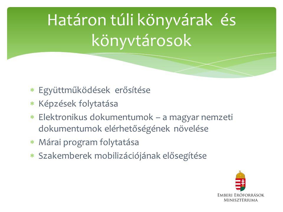  Együttműködések erősítése  Képzések folytatása  Elektronikus dokumentumok – a magyar nemzeti dokumentumok elérhetőségének növelése  Márai program folytatása  Szakemberek mobilizációjának elősegítése Határon túli könyvárak és könyvtárosok