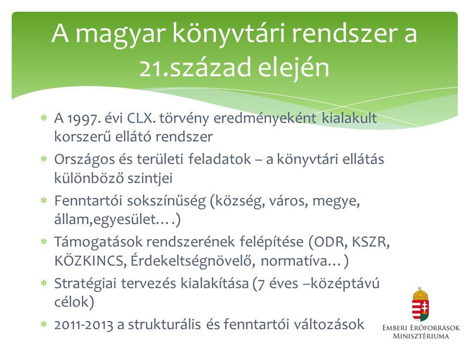  A 1997. évi CLX. törvény eredményeként kialakult korszerű ellátó rendszer  Országos és területi feladatok – a könyvtári ellátás különböző szintjei