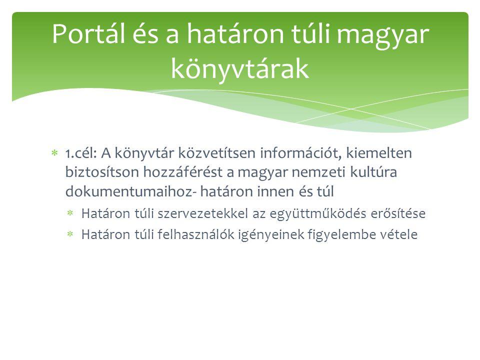  1.cél: A könyvtár közvetítsen információt, kiemelten biztosítson hozzáférést a magyar nemzeti kultúra dokumentumaihoz- határon innen és túl  Határo