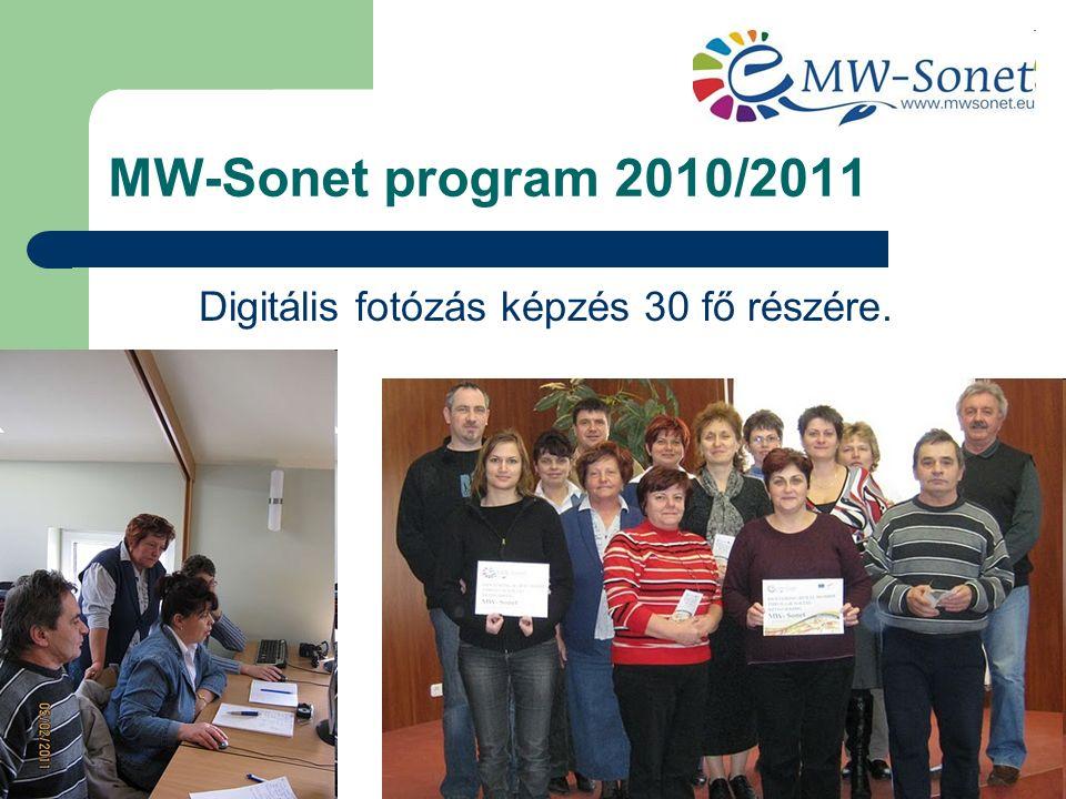 MW-Sonet program 2010/2011 Digitális fotózás képzés 30 fő részére.