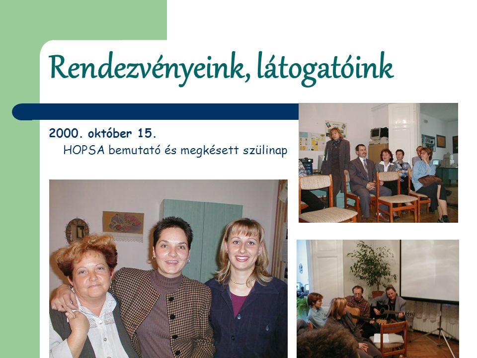 Rendezvényeink, látogatóink 2000. október 15. HOPSA bemutató és megkésett szülinap