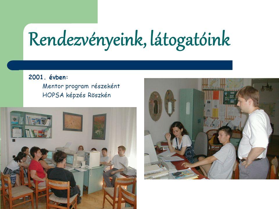 Rendezvényeink, látogatóink 2001. évben: Mentor program részeként HOPSA képzés Röszkén