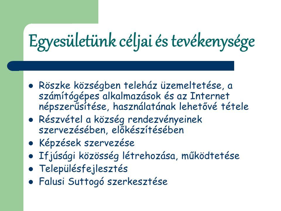 Egyesületünk céljai és tevékenysége Röszke községben teleház üzemeltetése, a számítógépes alkalmazások és az Internet népszerűsítése, használatának lehetővé tétele Részvétel a község rendezvényeinek szervezésében, előkészítésében Képzések szervezése Ifjúsági közösség létrehozása, működtetése Településfejlesztés Falusi Suttogó szerkesztése