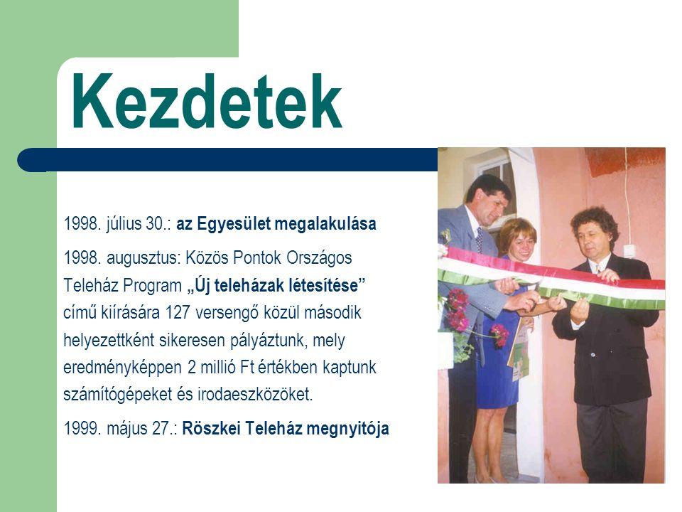 Kezdetek 1998.július 30.: az Egyesület megalakulása 1998.