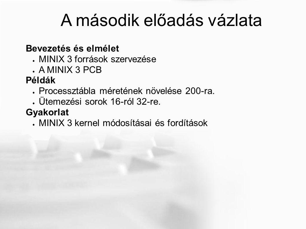 A második előadás vázlata Bevezetés és elmélet ● MINIX 3 források szervezése ● A MINIX 3 PCB Példák ● Processztábla méretének növelése 200-ra.