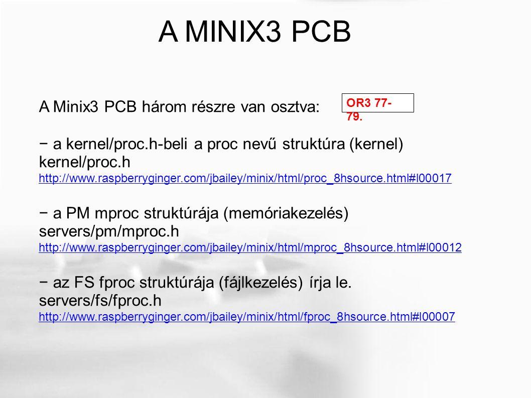 Otthoni feladat: módosítsd úgy a MINIX 3 kernelt, hogy 150 processzes legyen a processztábla és 32 ütemezési sort használjon.