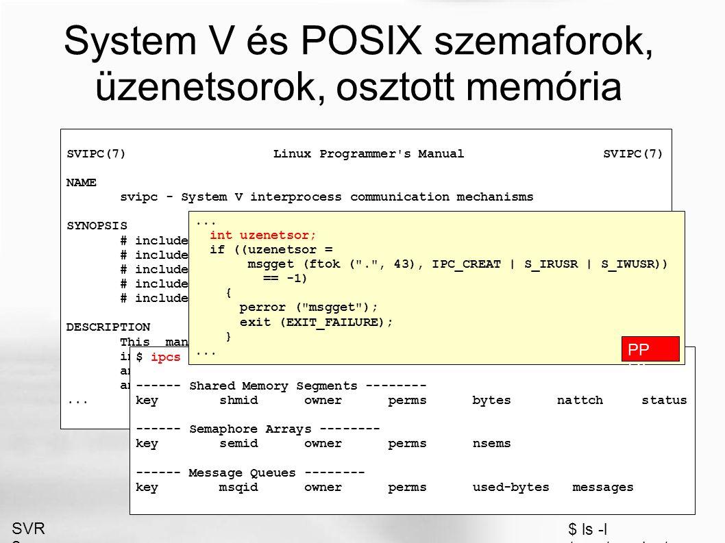 TCP socketek, kliens oldal #include #define SZERVER_PORT 2005 #define BUFFER_MERET 256 int main (void) { int kapu, olvasva; struct sockaddr_in szerver; char buffer[BUFFER_MERET]; memset ((void *) &szerver, 0, sizeof (szerver)); szerver.sin_family = AF_INET; inet_aton ( 127.0.0.1 , &(szerver.sin_addr)); szerver.sin_port = htons (SZERVER_PORT); if ((kapu = socket (PF_INET, SOCK_STREAM, IPPROTO_TCP)) == -1) { perror ( socket ); exit (EXIT_FAILURE); } if (connect (kapu, (struct sockaddr *) &szerver, sizeof (szerver)) == -1) { perror ( connect ); exit (EXIT_FAILURE); } while ((olvasva = read (kapu, buffer, BUFFER_MERET)) > 0) write (1, buffer, olvasva); exit (EXIT_SUCCESS); } i PP 133
