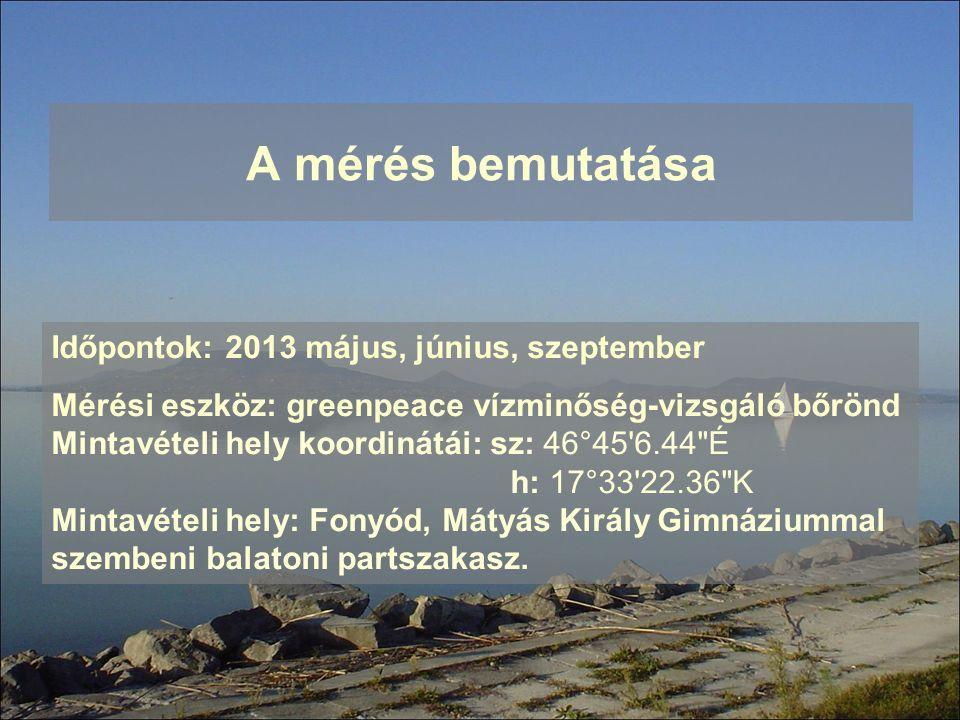 A mérés bemutatása Időpontok: 2013 május, június, szeptember Mérési eszköz: greenpeace vízminőség-vizsgáló bőrönd Mintavételi hely koordinátái: sz: 46
