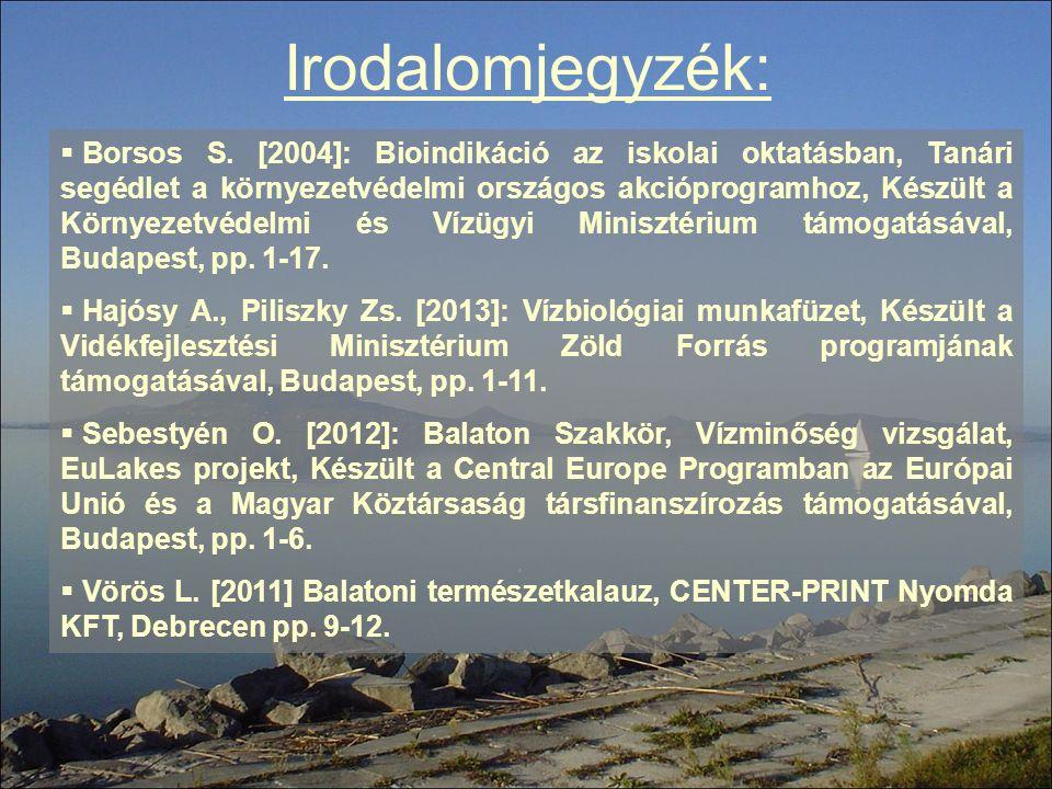 Irodalomjegyzék:  Borsos S. [2004]: Bioindikáció az iskolai oktatásban, Tanári segédlet a környezetvédelmi országos akcióprogramhoz, Készült a Környe