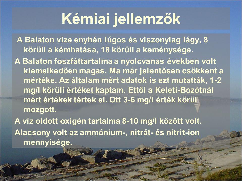 Kémiai jellemzők A Balaton vize enyhén lúgos és viszonylag lágy, 8 körüli a kémhatása, 18 körüli a keménysége. A Balaton foszfáttartalma a nyolcvanas