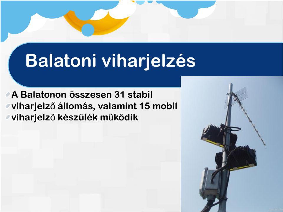 Balatoni viharjelzés A Balatonon összesen 31 stabil viharjelz ő állomás, valamint 15 mobil viharjelz ő készülék m ű ködik