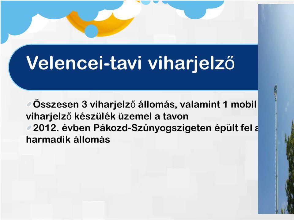 Velencei-tavi viharjelz ő Összesen 3 viharjelz ő állomás, valamint 1 mobil viharjelz ő készülék üzemel a tavon 2012.