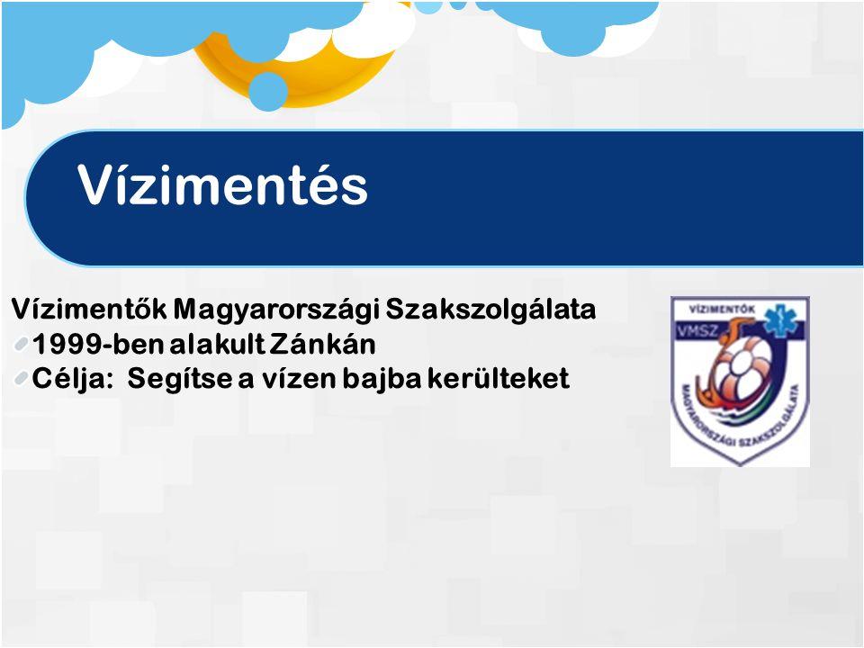 Vízimentés Víziment ő k Magyarországi Szakszolgálata 1999-ben alakult Zánkán Célja: Segítse a vízen bajba kerülteket