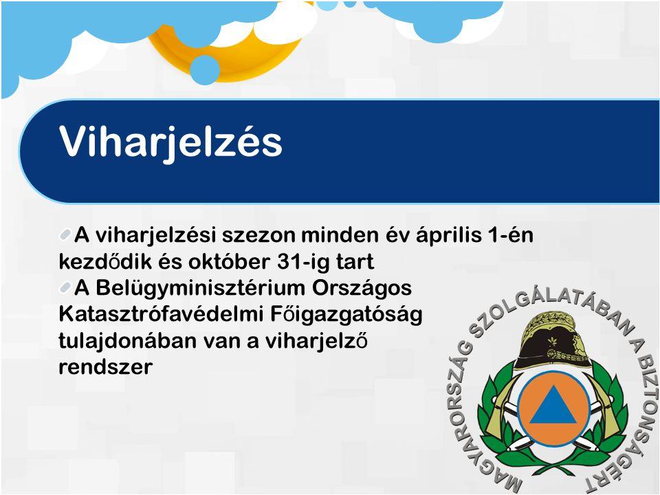 Viharjelzés A viharjelzési szezon minden év április 1-én kezd ő dik és október 31-ig tart A Belügyminisztérium Országos Katasztrófavédelmi F ő igazgatóság tulajdonában van a viharjelz ő rendszer