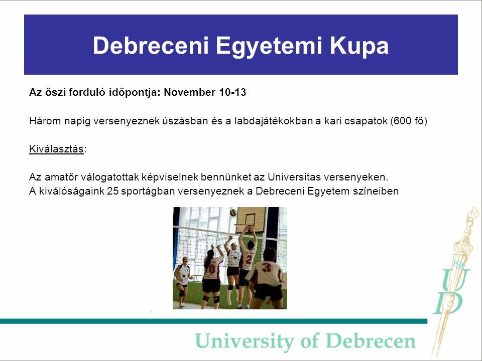 Debreceni Egyetemi Kupa Az őszi forduló időpontja: November 10-13 Három napig versenyeznek úszásban és a labdajátékokban a kari csapatok (600 fő) Kiválasztás: Az amatőr válogatottak képviselnek bennünket az Universitas versenyeken.