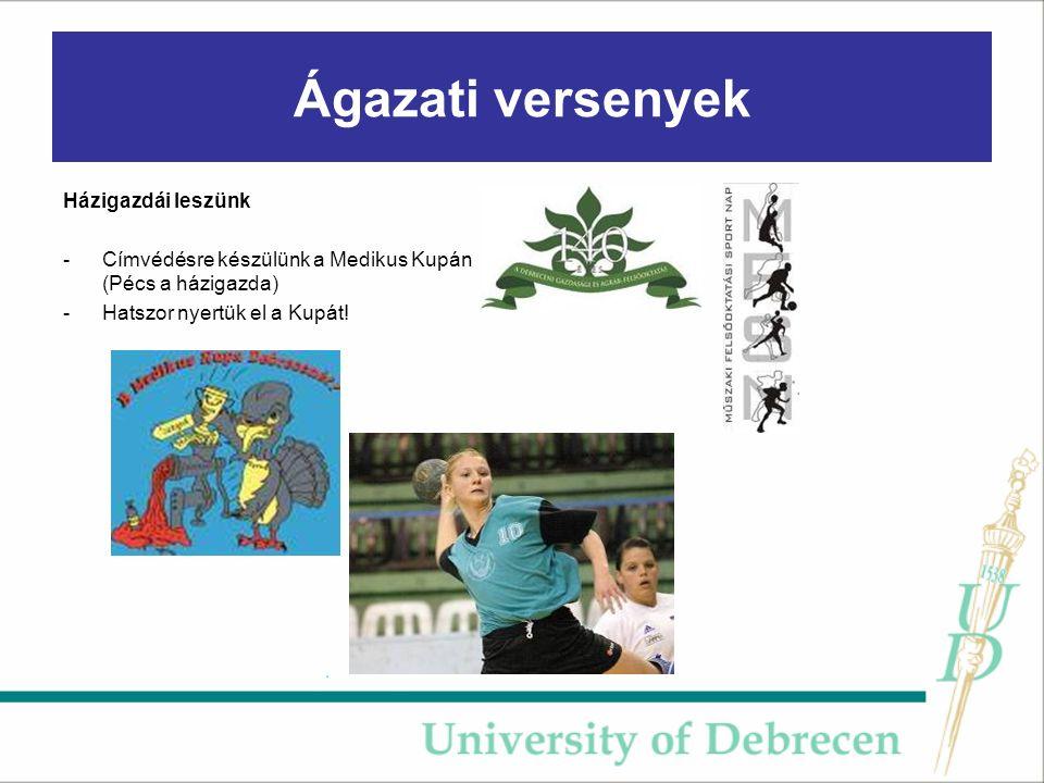 Ágazati versenyek Házigazdái leszünk -Címvédésre készülünk a Medikus Kupán (Pécs a házigazda) -Hatszor nyertük el a Kupát!