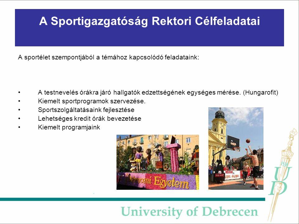 A Sportigazgatóság Rektori Célfeladatai A sportélet szempontjából a témához kapcsolódó feladataink: A testnevelés órákra járó hallgatók edzettségének egységes mérése.