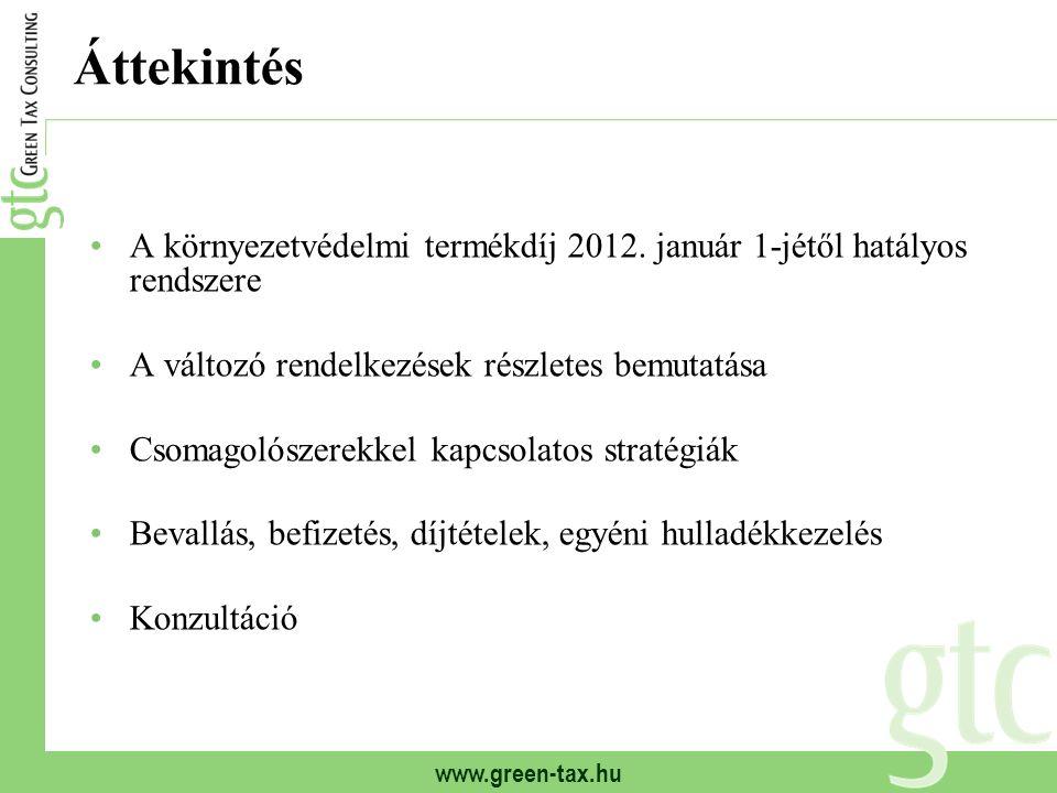 Áttekintés A környezetvédelmi termékdíj 2012.