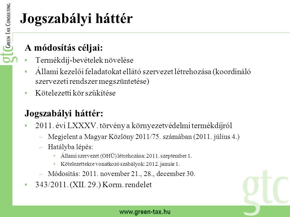 www.green-tax.hu Jogszabályi háttér A módosítás céljai: Termékdíj-bevételek növelése Állami kezelői feladatokat ellátó szervezet létrehozása (koordináló szervezeti rendszer megszüntetése) Kötelezetti kör szűkítése Jogszabályi háttér: 2011.
