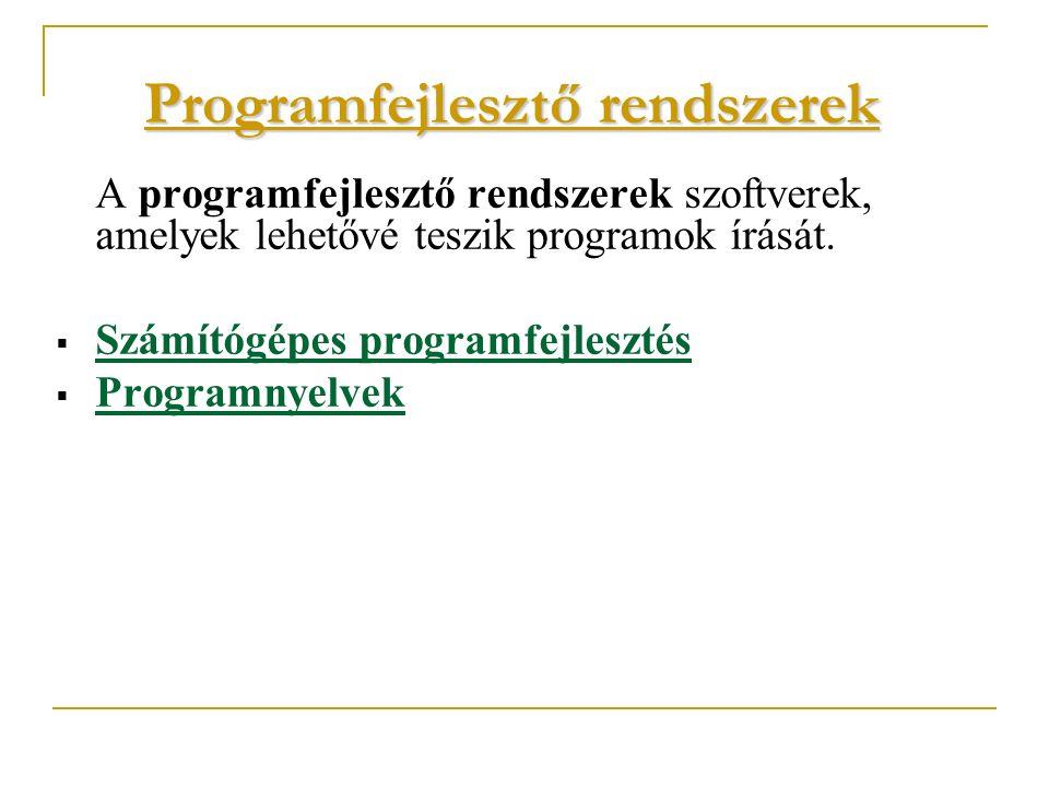 Programfejlesztő rendszerek A programfejlesztő rendszerek szoftverek, amelyek lehetővé teszik programok írását.  Számítógépes programfejlesztés  Pro