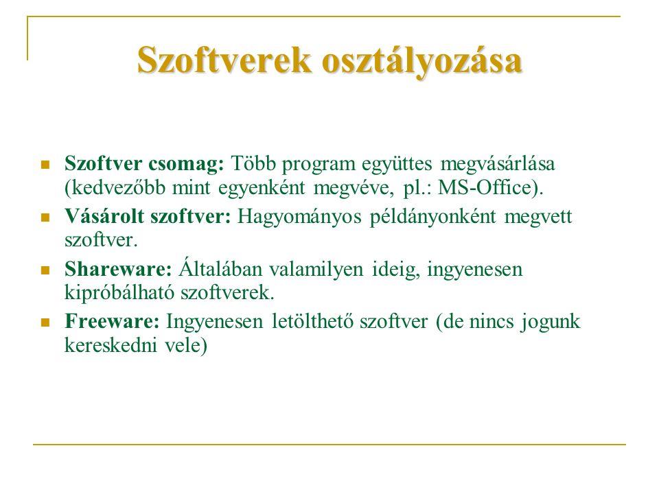 Szoftverek osztályozása Szoftver csomag: Több program együttes megvásárlása (kedvezőbb mint egyenként megvéve, pl.: MS-Office). Vásárolt szoftver: Hag