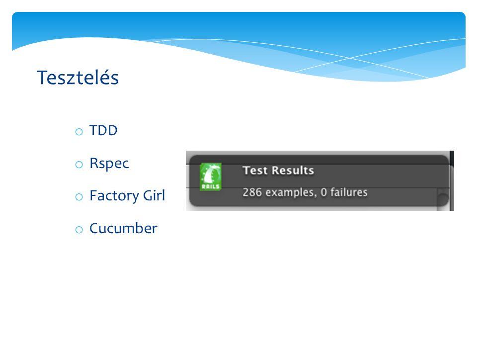 o TDD o Rspec o Factory Girl o Cucumber Tesztelés
