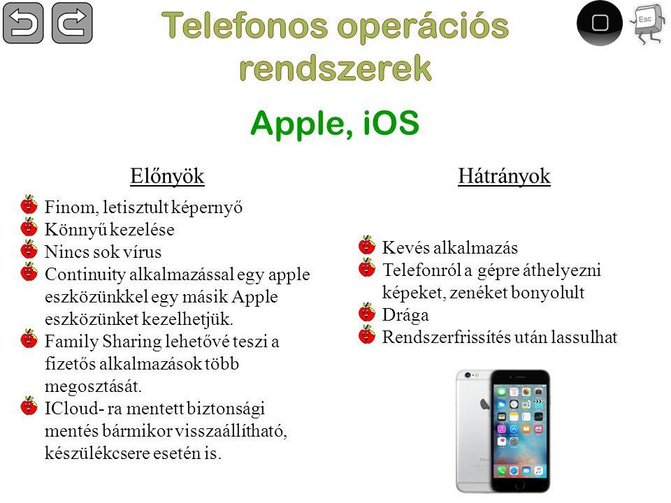 Hátrányok Kevés alkalmazás Telefonról a gépre áthelyezni képeket, zenéket bonyolult Drága Rendszerfrissítés után lassulhat Apple, iOS Finom, letisztult képernyő Könnyű kezelése Nincs sok vírus Continuity alkalmazással egy apple eszközünkkel egy másik Apple eszközünket kezelhetjük.