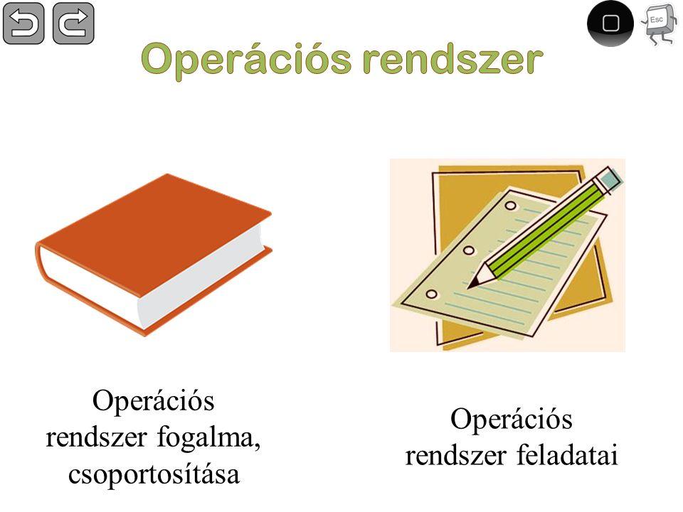 Operációs rendszer feladatai Operációs rendszer fogalma, csoportosítása