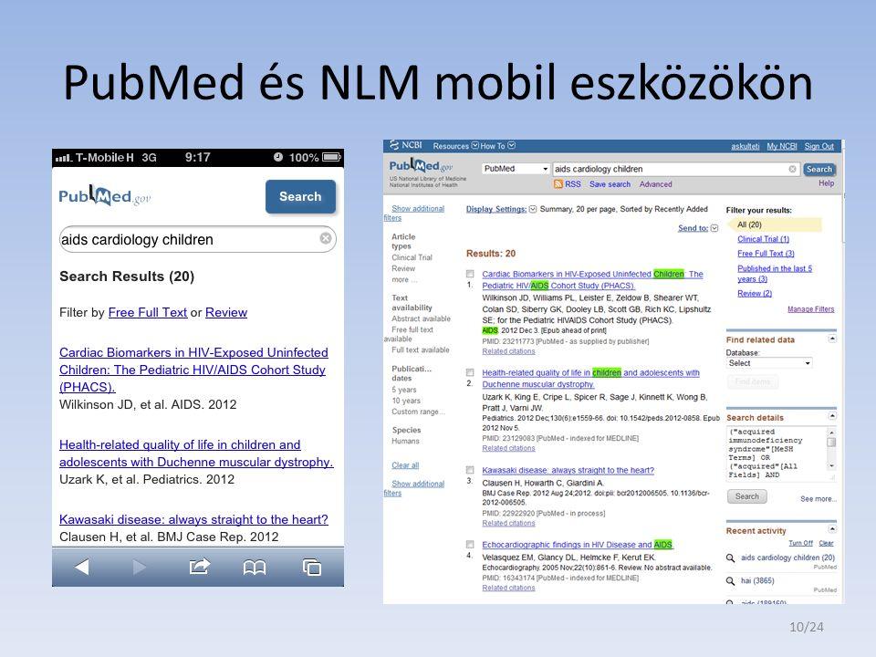 PubMed és NLM mobil eszközökön 10/24