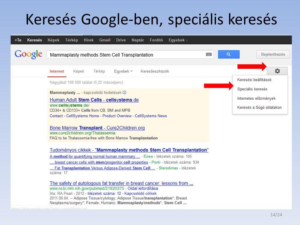 Keresés Google-ben, speciális keresés 14/24
