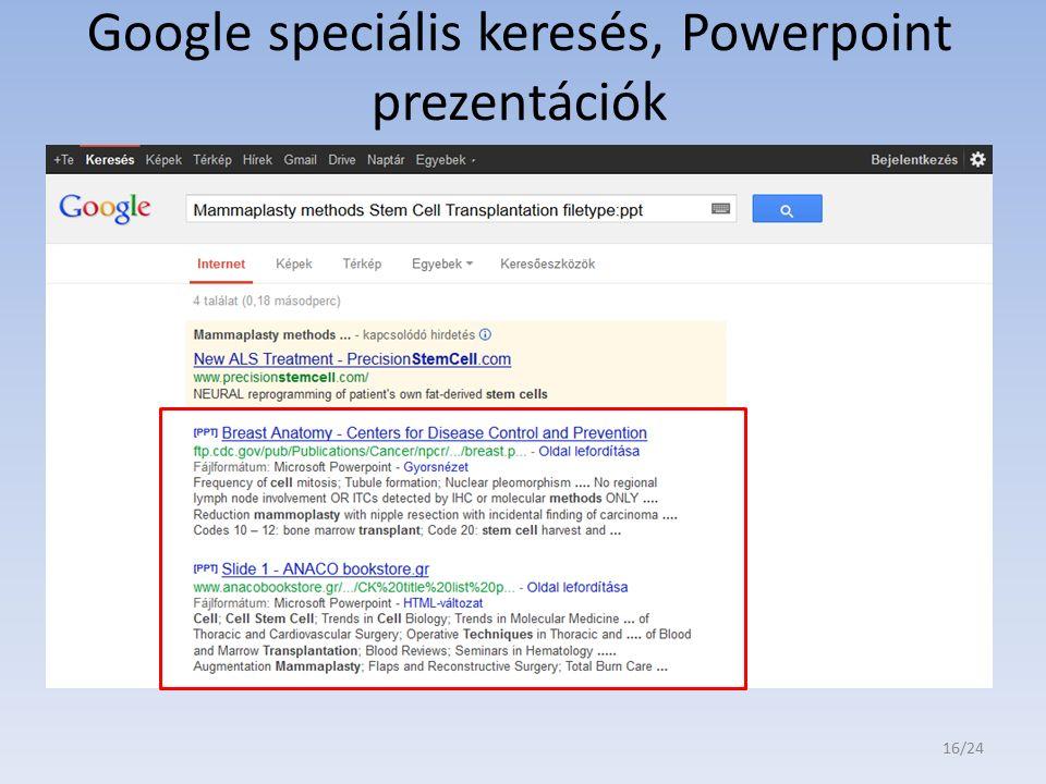 Google speciális keresés, Powerpoint prezentációk 16/24