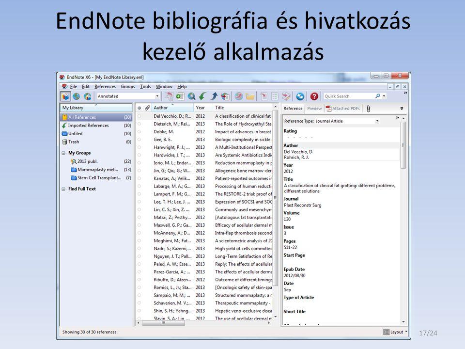 EndNote bibliográfia és hivatkozás kezelő alkalmazás 17/24
