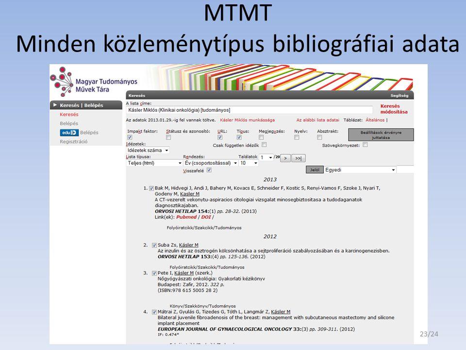 MTMT Minden közleménytípus bibliográfiai adata 23/24