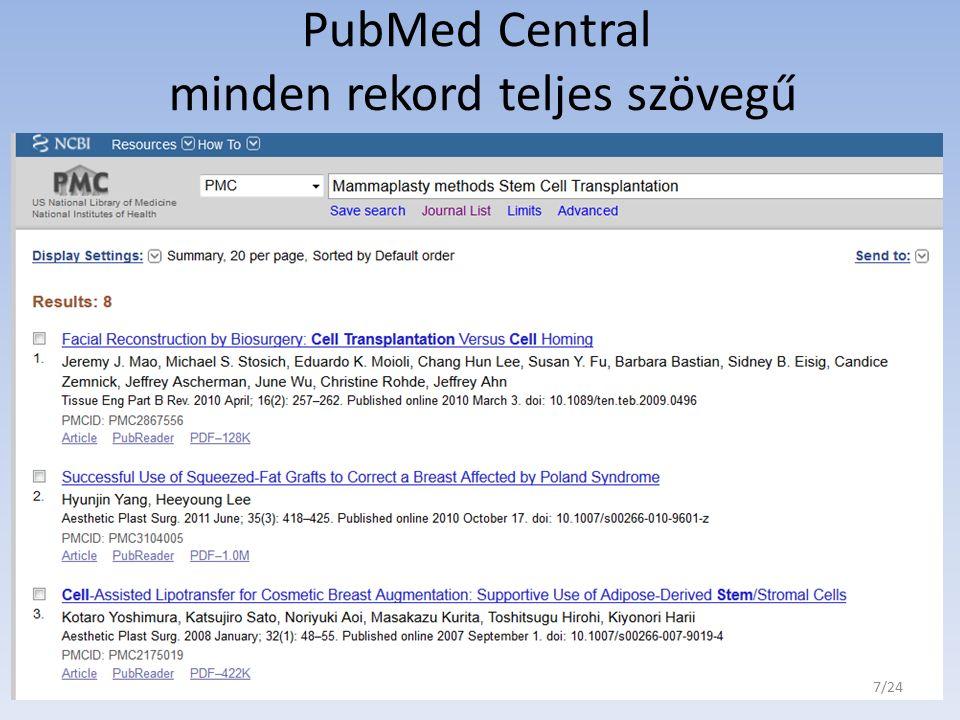 PubMed Central minden rekord teljes szövegű 7/24