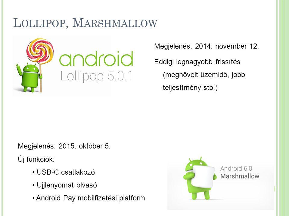 L OLLIPOP, M ARSHMALLOW Megjelenés: 2014. november 12. Eddigi legnagyobb frissítés (megnövelt üzemidő, jobb teljesítmény stb.) Megjelenés: 2015. októb