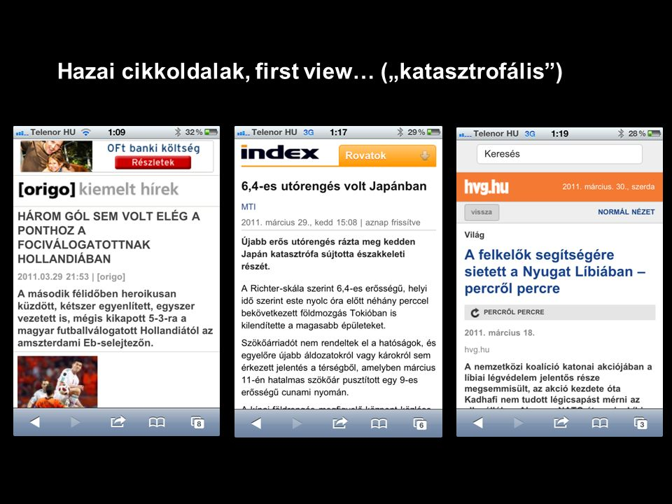 "Hazai cikkoldalak, first view… (""katasztrofális )"