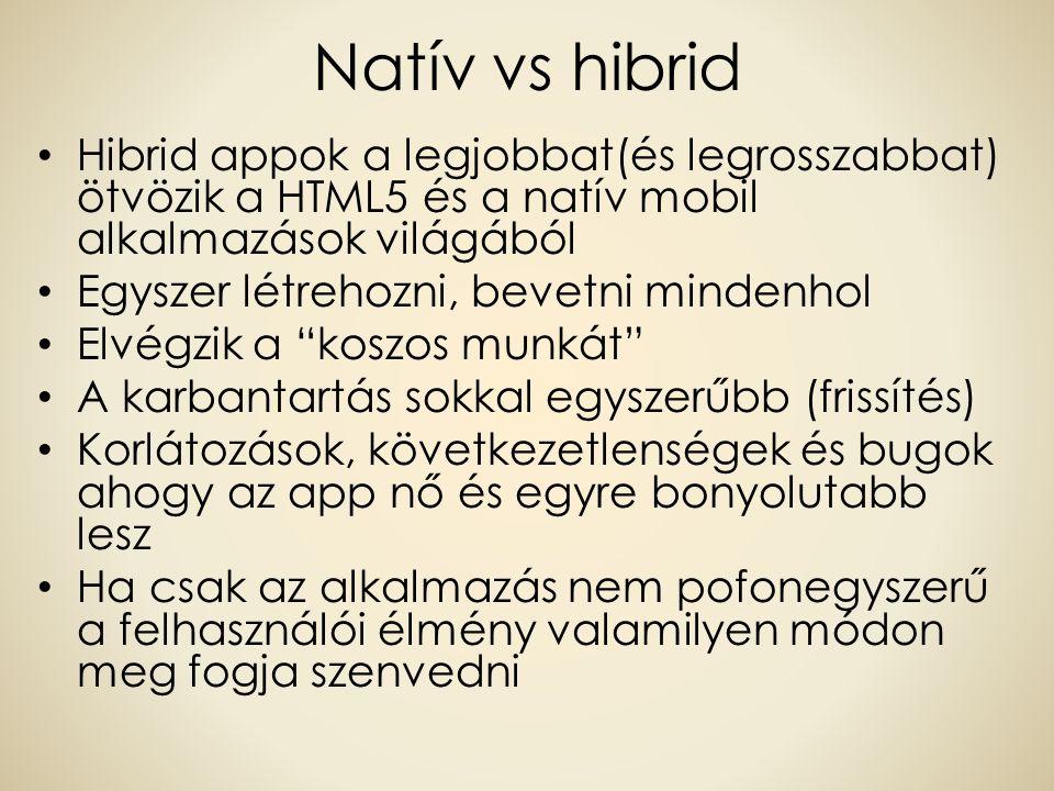 Natív vs hibrid Hibrid appok a legjobbat(és legrosszabbat) ötvözik a HTML5 és a natív mobil alkalmazások világából Egyszer létrehozni, bevetni mindenh