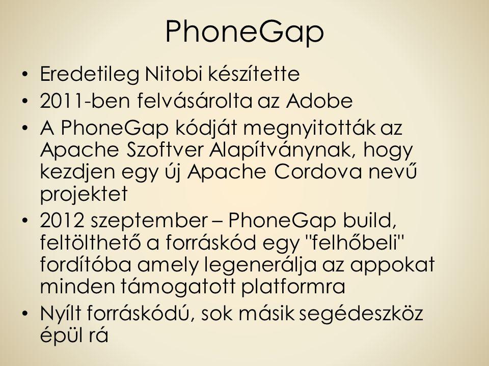 PhoneGap Eredetileg Nitobi készítette 2011-ben felvásárolta az Adobe A PhoneGap kódját megnyitották az Apache Szoftver Alapítványnak, hogy kezdjen egy új Apache Cordova nevű projektet 2012 szeptember – PhoneGap build, feltölthető a forráskód egy felhőbeli fordítóba amely legenerálja az appokat minden támogatott platformra Nyílt forráskódú, sok másik segédeszköz épül rá