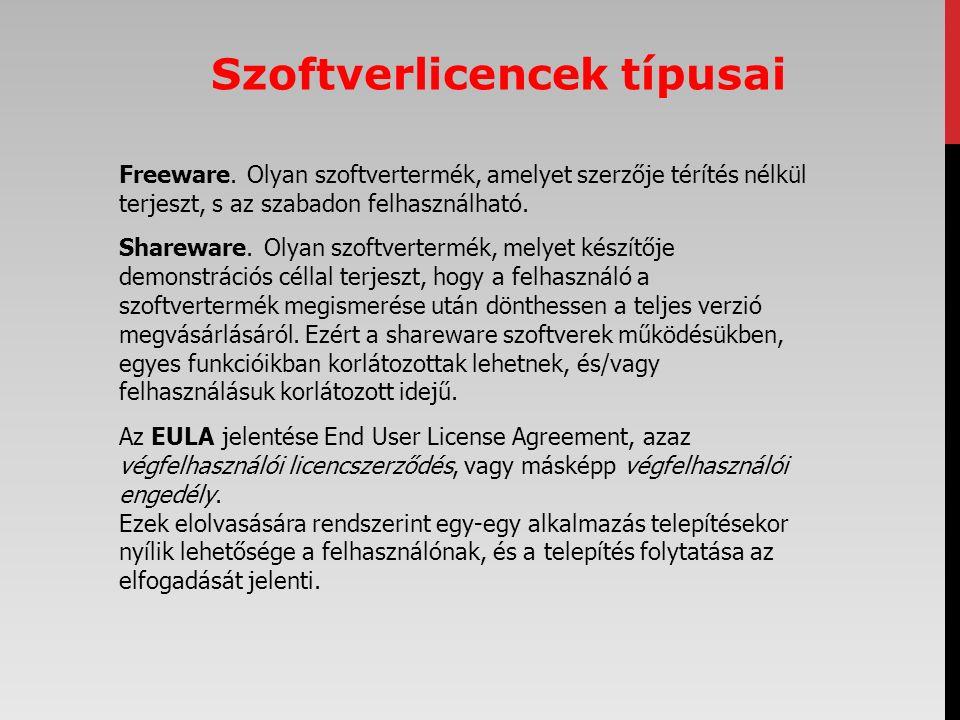 Freeware. Olyan szoftvertermék, amelyet szerzője térítés nélkül terjeszt, s az szabadon felhasználható. Shareware. Olyan szoftvertermék, melyet készít