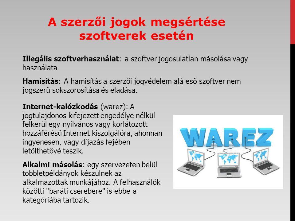 Illegális szoftverhasználat: a szoftver jogosulatlan másolása vagy használata Hamisítás: A hamisítás a szerzői jogvédelem alá eső szoftver nem jogszer