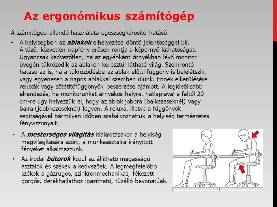Az ergonómikus számítógép A számítógép állandó használata egészségkárosító hatású.