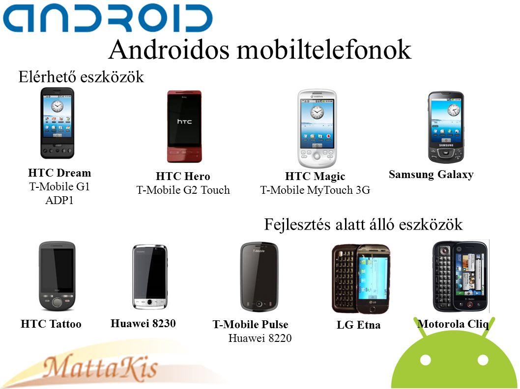 Androidos mobiltelefonok HTC Dream T-Mobile G1 ADP1 HTC Hero T-Mobile G2 Touch HTC Magic T-Mobile MyTouch 3G Samsung Galaxy HTC Tattoo Huawei 8230 LG Etna Motorola Cliq T-Mobile Pulse Huawei 8220 Elérhető eszközök Fejlesztés alatt álló eszközök